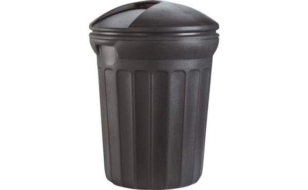Rough & Rugged 32-Gal. Black Trash Can With Lid